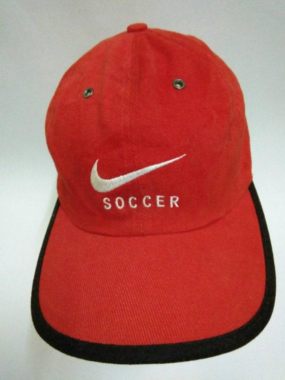68d6ef227a4 Rare Vintage NIKE SOCCER Hat Cap big embroidered logo nike