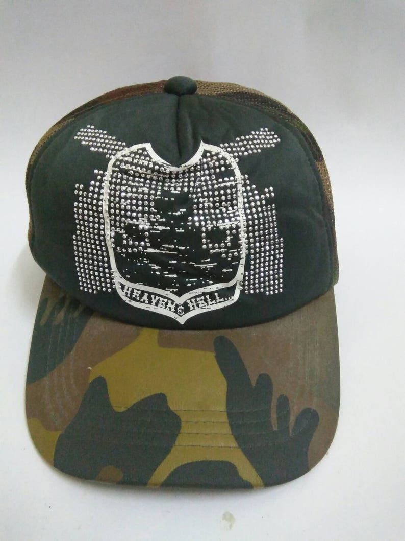 23838187fe7b Rare Vintage HEAVAN   HELL Hat Cap Camo Cap CAMOUFLAGE cap