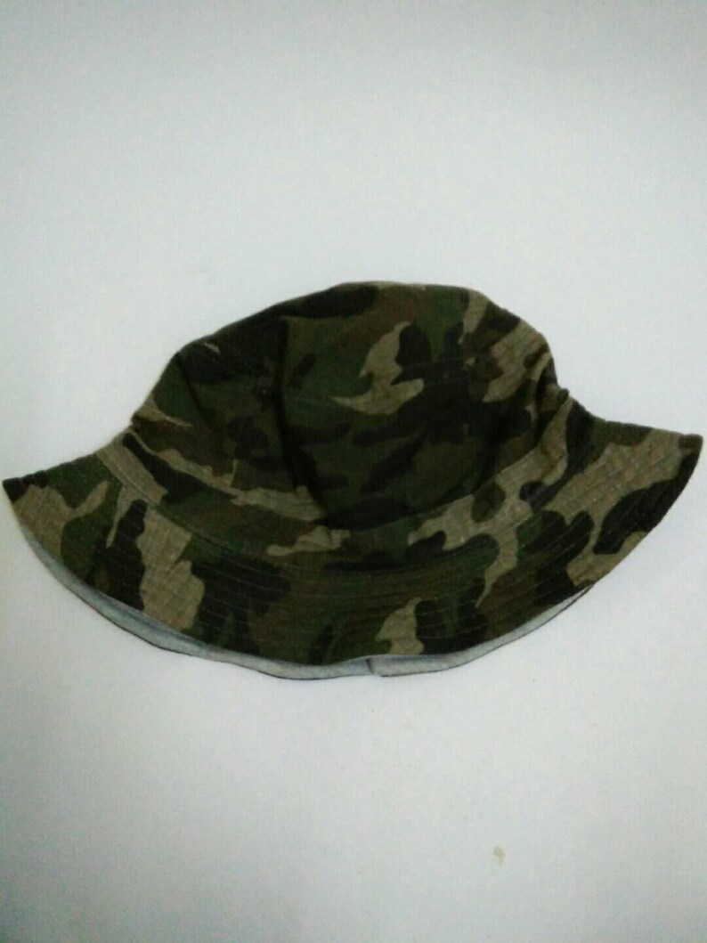 Rare Vintage CAMOUFLAGE Bucket Hat NY reversible bucket hat  5a5623d4048a