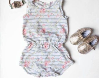 Summer Baby Romper - Striped Floral Baby Romper - Sleeveless Romper