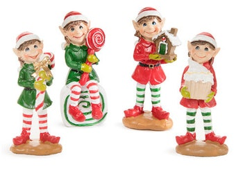 darice elf christmas miniatures you will get the elf holding the candy cane - Miniature Christmas Figurines