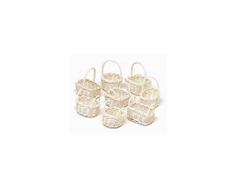 Mini Willow Bleached Basket - Big Value - 8 pieces