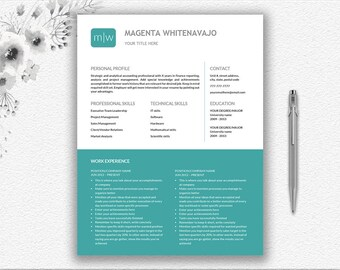 Instant Download 1 And 2 Page Resume | Monogram Personalized Design |  Editable + Printable Resume | Creative Resume + Cover Letter Design