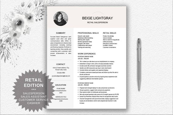 Retail Salesperson + Resume With Photo + Cover Letter Design + CV Writing  Tips | Professional Resume Download | CV Salesperson | CV Design