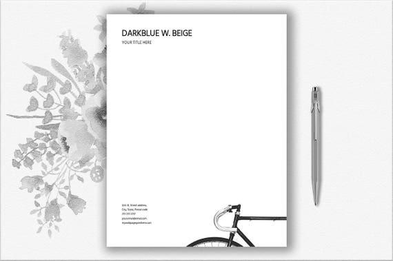 Fahrrad Design Briefkopf Vorlage Fahrrad Briefpapier Brief Etsy