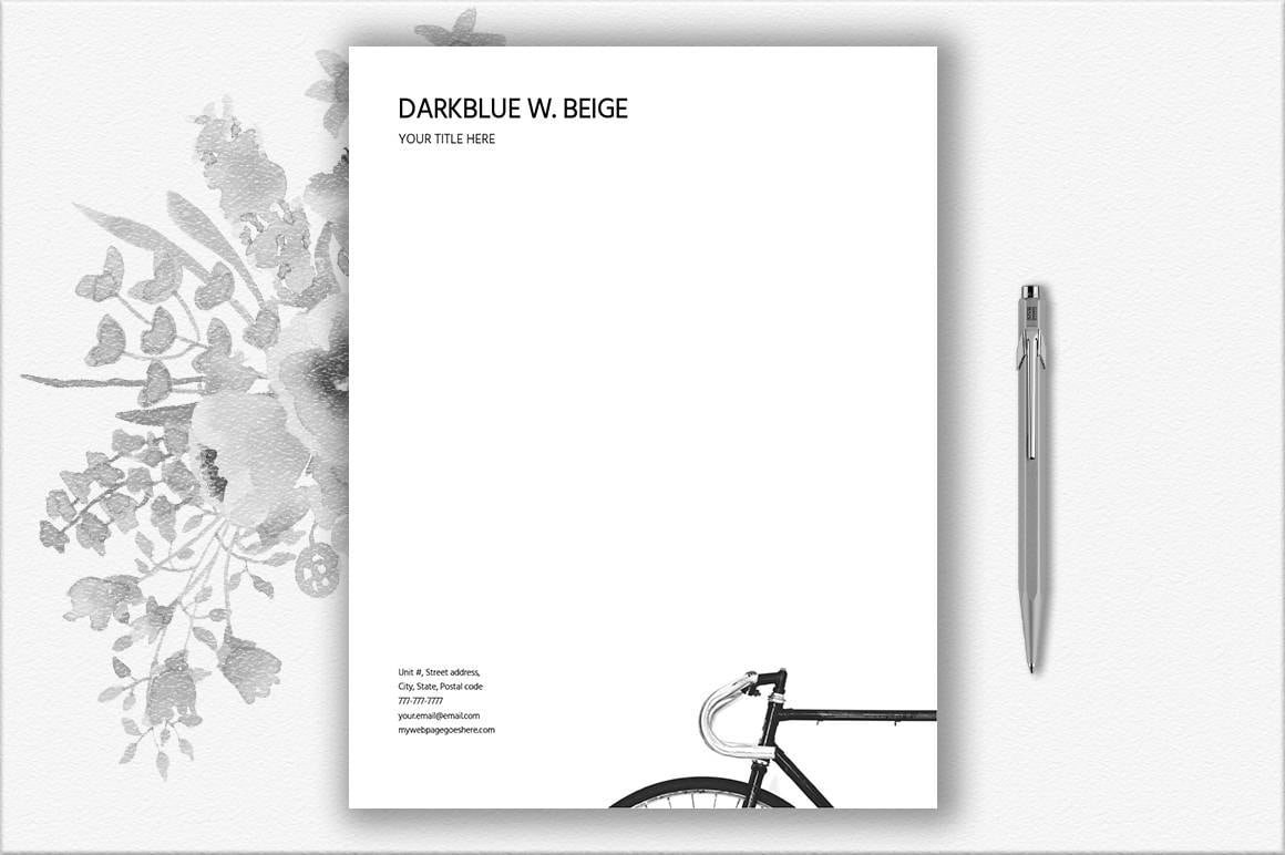 Bike Design Letterhead Template Bicycle Stationery Letter   Etsy