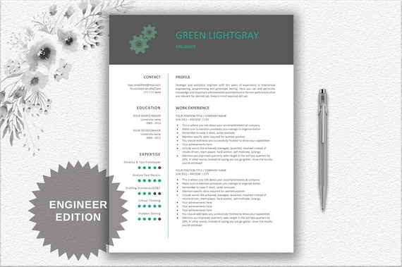 photograph relating to Free Printable Gear Template called Engineer Resume Printable Template Editable inside of Term Machines Style Resume  CV Template + Resume Creating Strategies Fast Down load Impressive