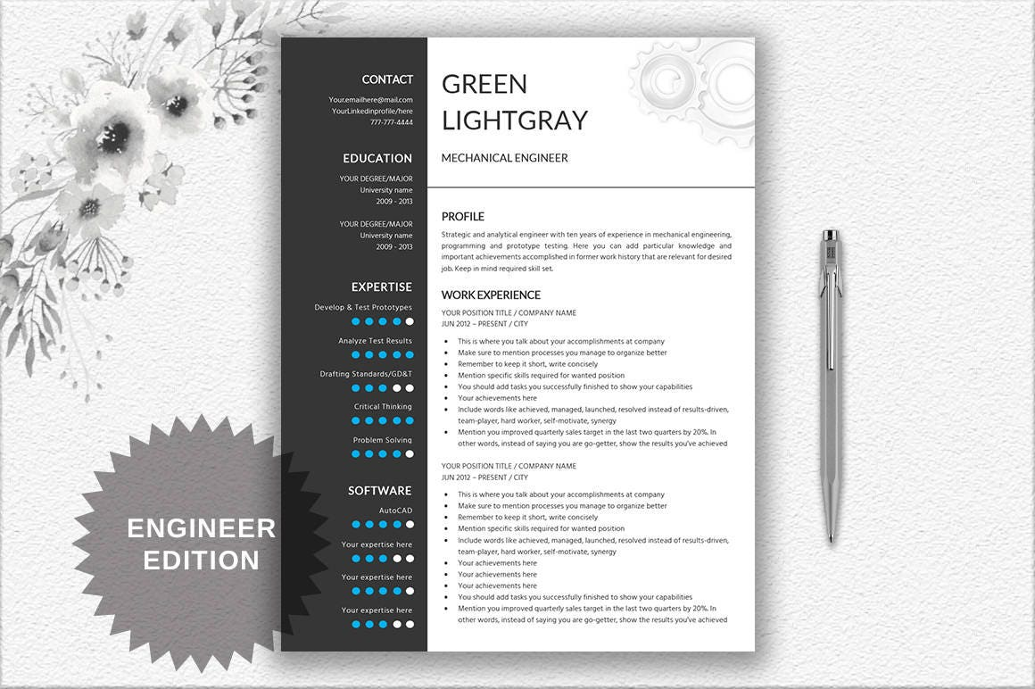 engineer resume printable template editable in word gear