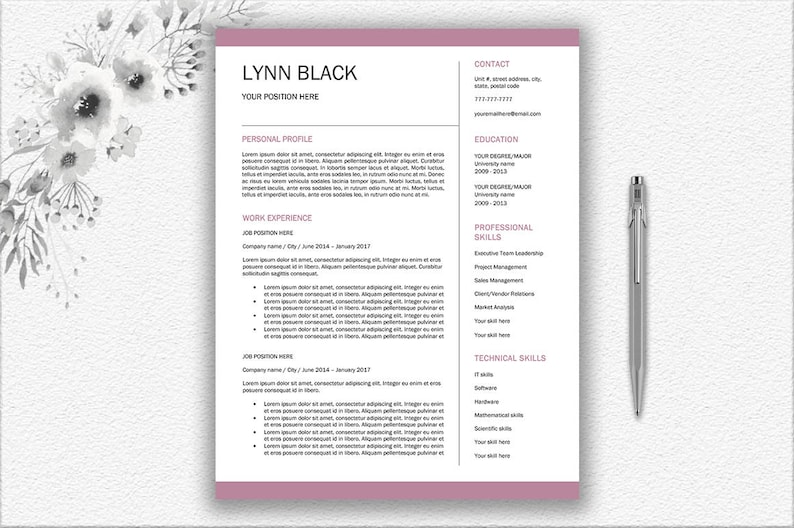 Instant Download Resume Template Printable Editable
