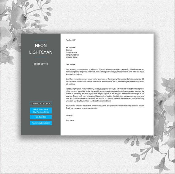 Landscape Resume Template Word Cover Letter Writing Tips Etsy