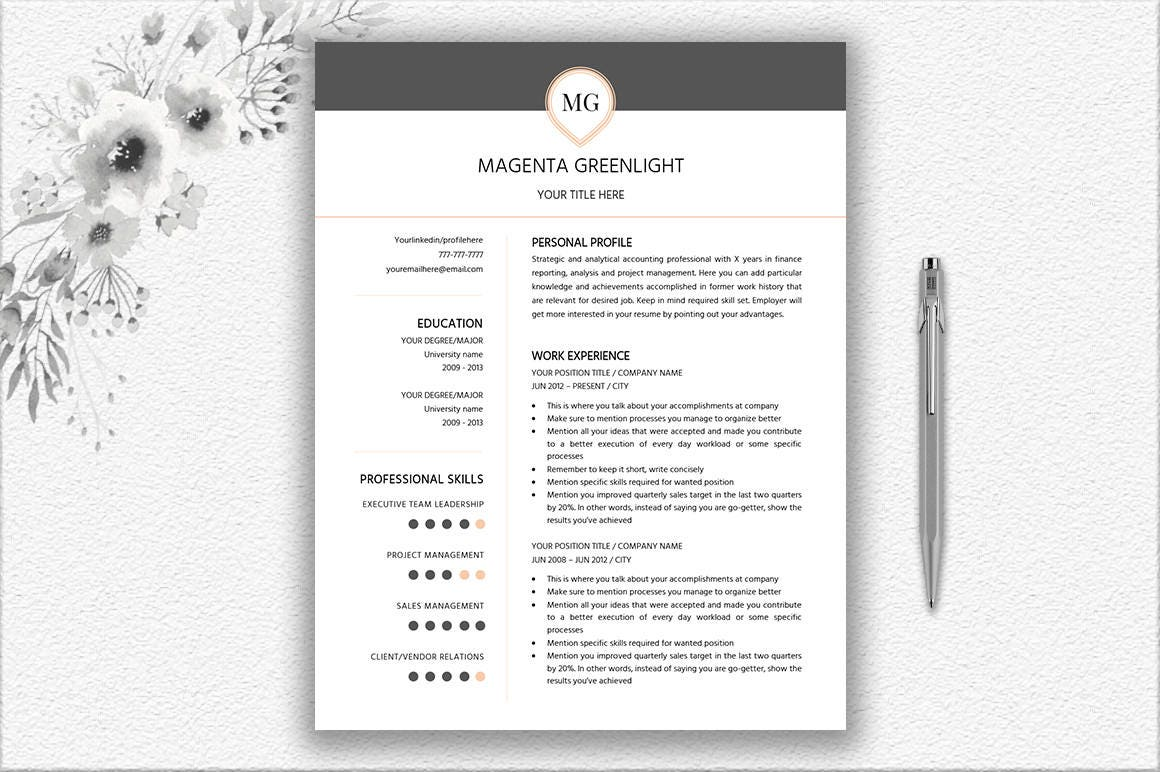 One Page Resume Two Page Resume Cover Letter Design