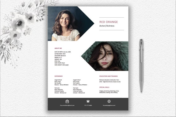 Actor Resume Template With Photo + Cover Letter + Writing Tips Instant  Download   Personalized Professional Resume Word Template