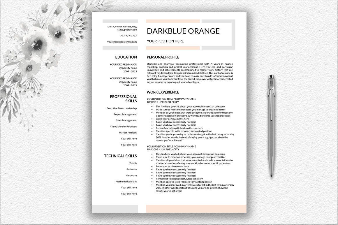 professional resume template one page resume and two page