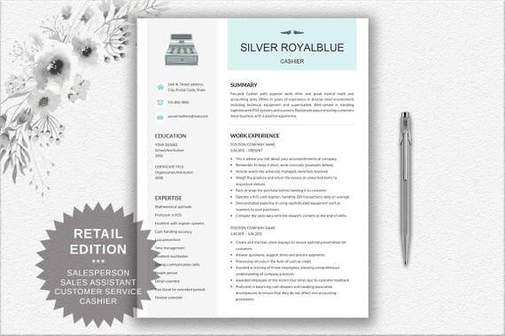 Cashier Resume | Retail Resume + Cover Letter + CV Writing Tips | Elegant  Cv Design Editable in Word | | Creative Resume | Download Resume