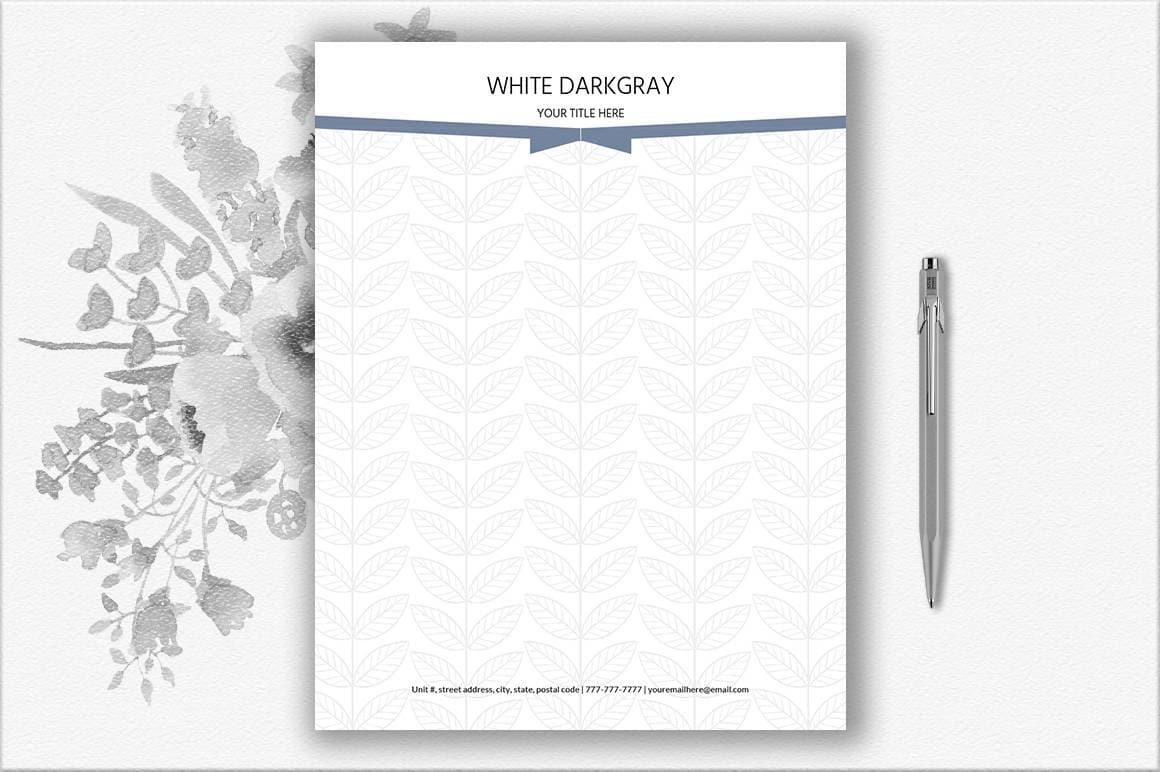 Elegant Letterhead Pattern Design Printable Stationery | Etsy