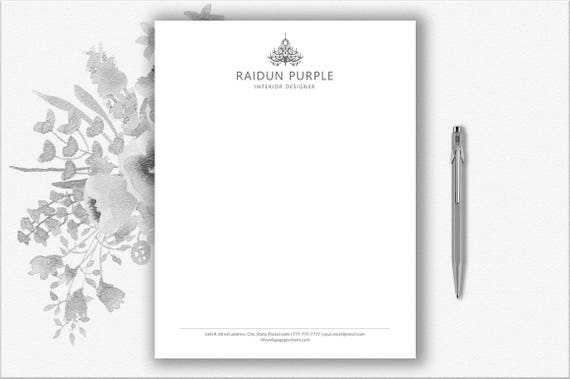 Letterhead Template For Word Stationary Personalized Design Etsy