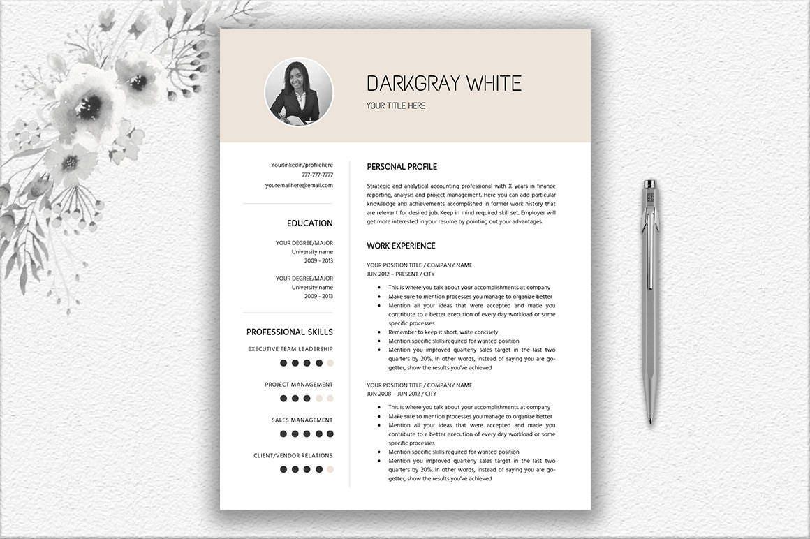 Elegant Resume With Photo Cover Letter Design CV Template | Etsy