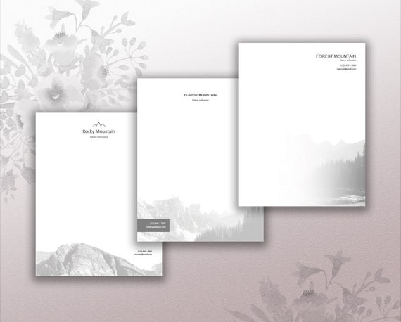 pack of three personal letterhead design stationery download etsy