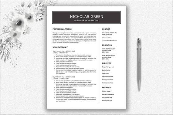 Simple Resume Design + Cover Letter Design   Writing Tips Resume   Digital  Download CV   CV Template Editable in Word   Professional Resume
