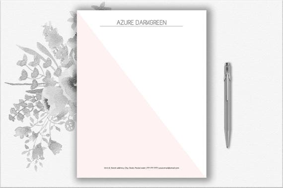 Elegante Briefpapier Download Moderne Briefkopf Vorlage Etsy