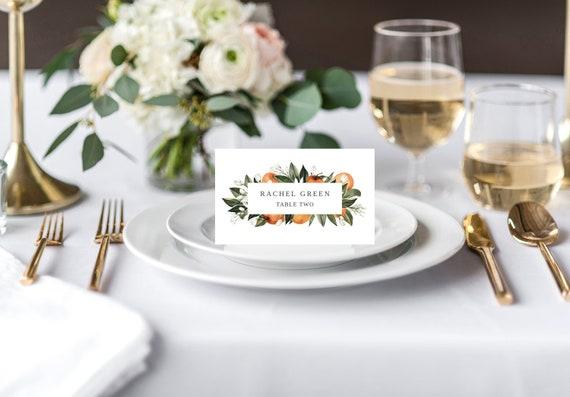 Instant Download Downloadable Printable Reception Wedding Guest Name Escort Place Cards  Orange Fruit Blossoms Modern Florals Greenery