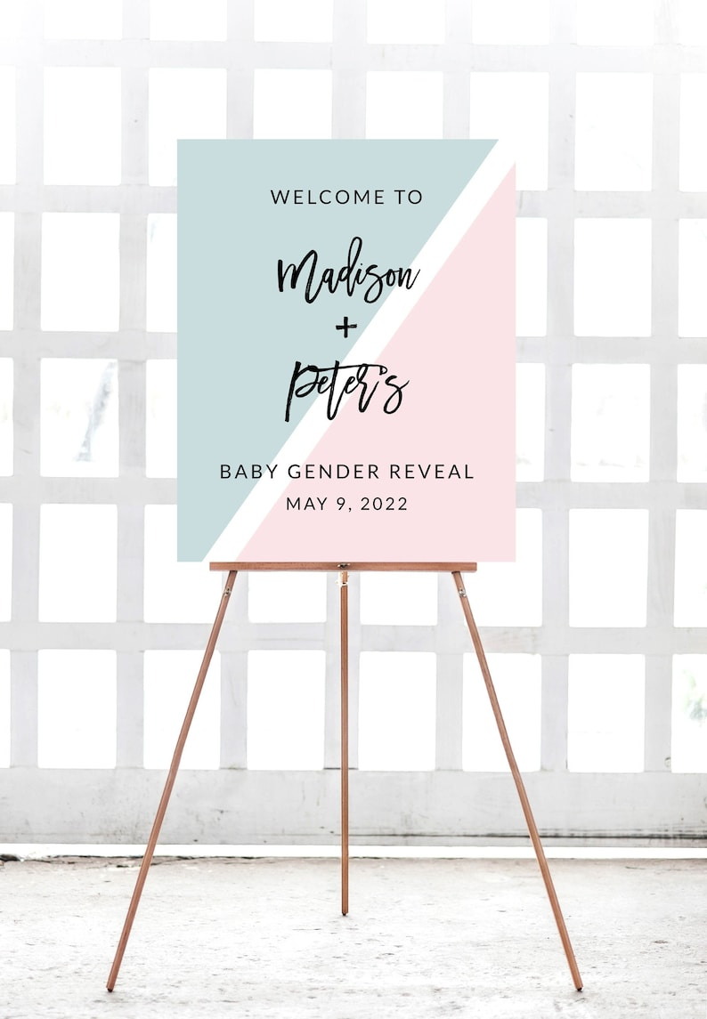 Instant Download Downloadable Printable Custom Baby Shower Gender Reveal Boy Or Girl Welcome Sign Signage Template  Pink Or Blue Retro