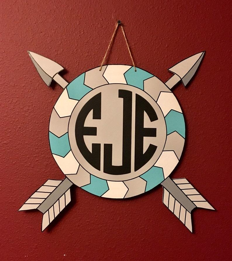 Monogrammed Tribal Arrow Circle Door HangerBohoBaby Nursery Door DecorBirth AnnouncementHospital Door HangerTwinsBaby Door Hanger