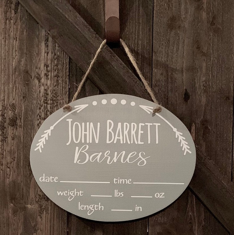 Arrow Oval Baby Door HangerPersonalizedNursery DecorBaby ShowerWelcome BabyBirth StatsIt/'s a GirlIt/'s a BoyWoodlandBoho
