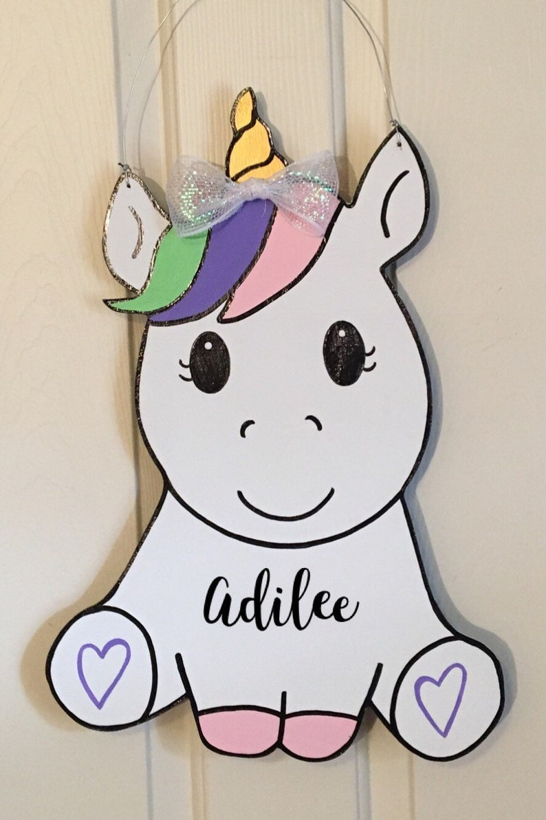 Rainbow Unicorn Baby Door Hanger/Hospital/Nursery Door | Etsy