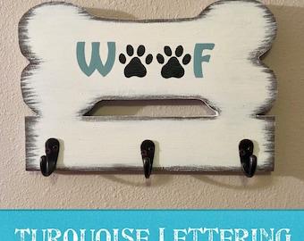 3 Hook/Bone Shaped Wooden Dog Leash Holder/Hooks/Distressed/Rustic/Woof/Personalized/Dog Lover Gift/Walk the Dog/Handmade/Farmhouse