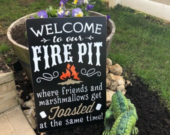 WELCOME to our fire pit/ outdoor wood sign/ friends/ DRINKING/ house warming gift