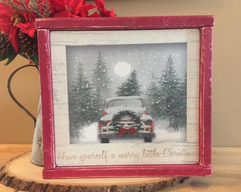 Have yourself a merry little christmas, rustic christmas sign, framed wood sign