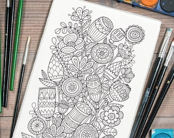 Adult Coloring Page Flowers Doodle Art Diy Coloring Poster Etsy