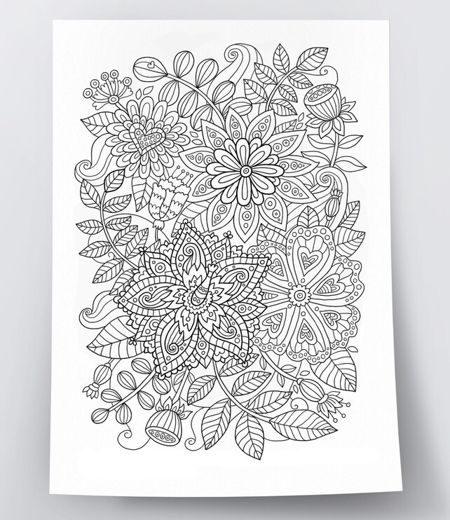 Adult Coloring Page Flowers Doodle Art DIY Poster