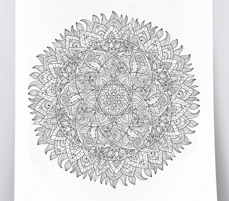 Adult coloring page: Mandala. Doodle art DIY coloring poster | Etsy