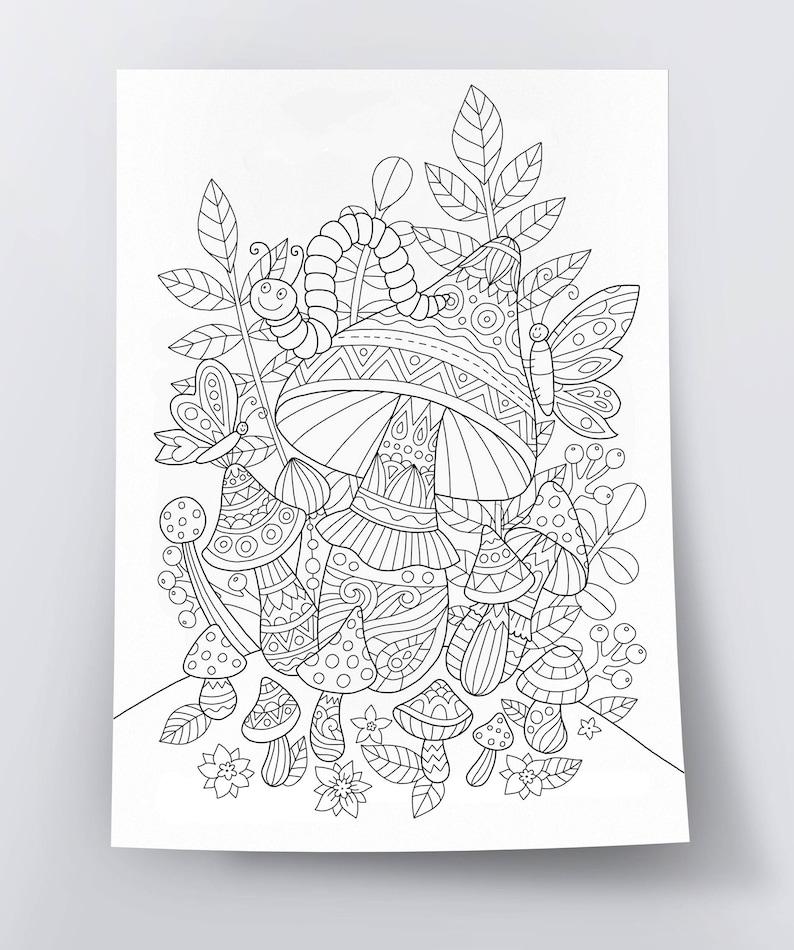 Adult coloring page: Magic Mushrooms. Doodle art DIY coloring | Etsy