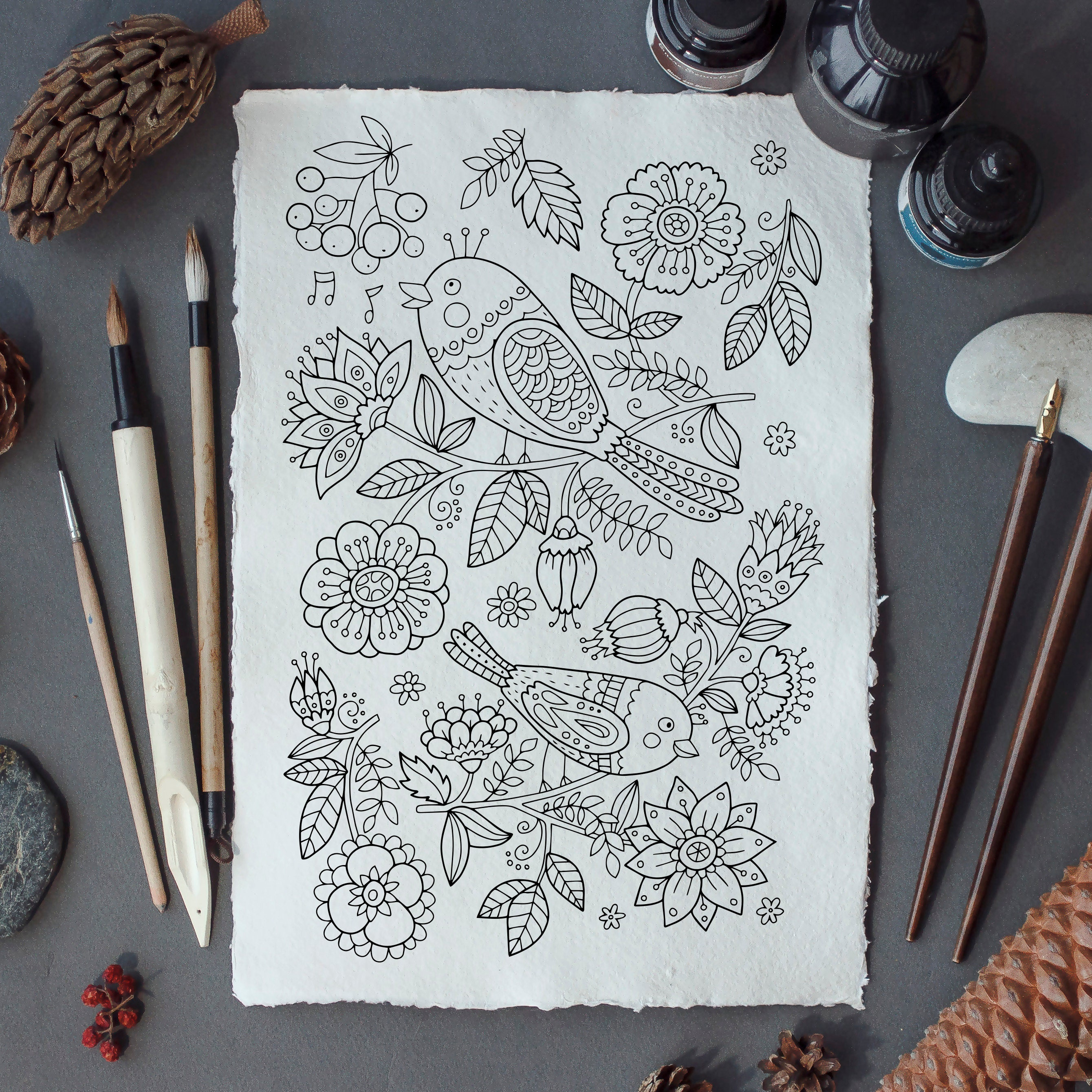 adult coloring page: birds and flowers. doodle art diy   etsy