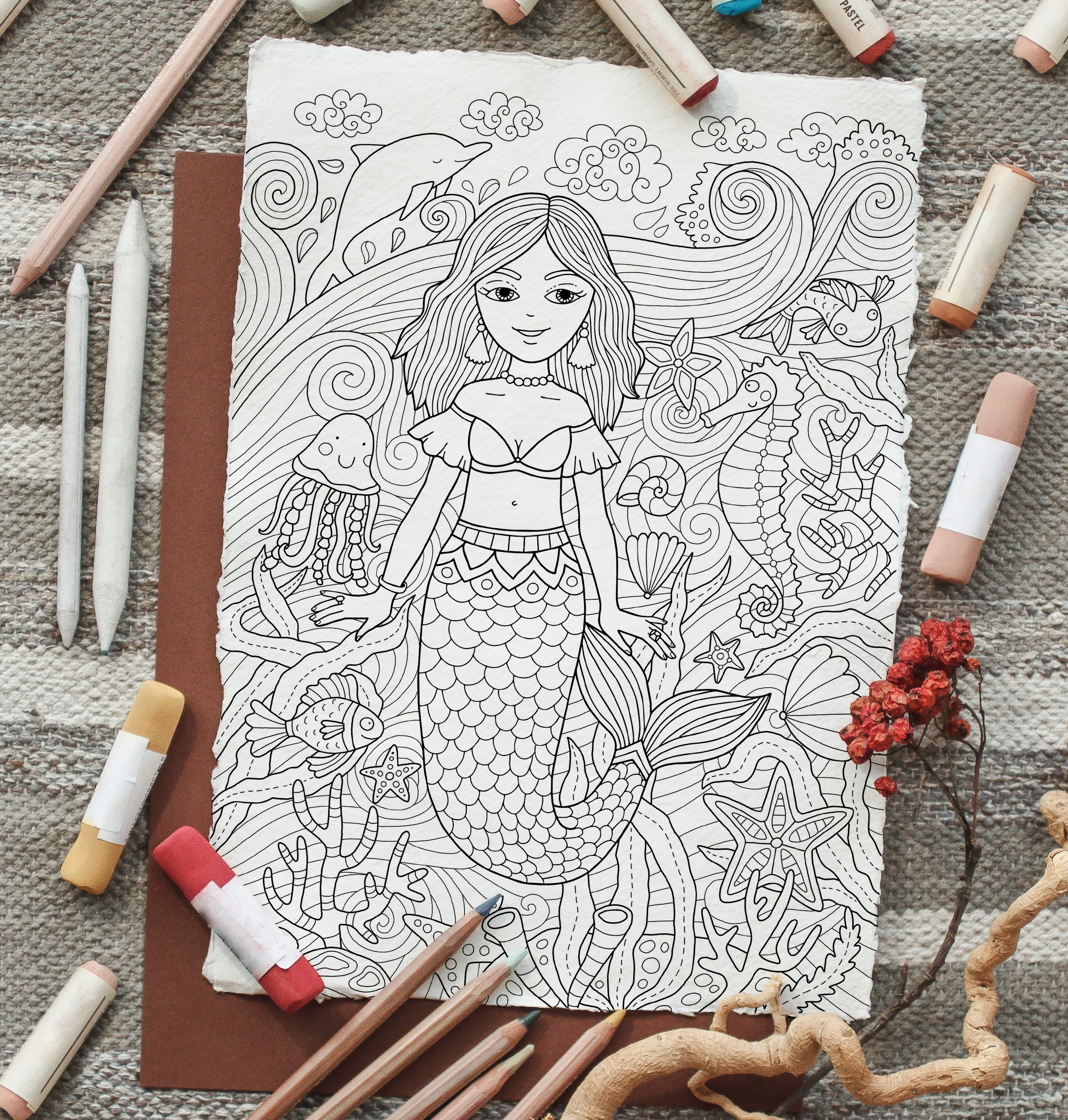 adult coloring page: little mermaid. doodle art diy coloring | etsy