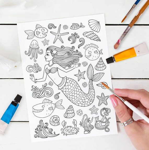 Adult Coloring Page: Mermaid And The Sea World. Doodle Art Etsy
