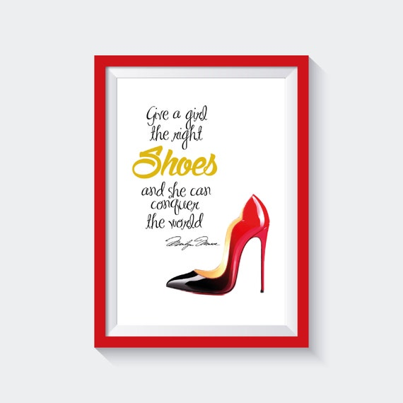 Christian Louboutin Shoes Digital Fashion Illustration Diy Inspirational Poster Motivational Quote Gift Card