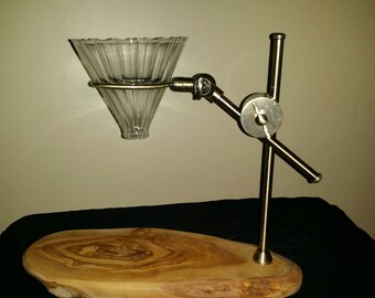 Pour over coffee stand with clear glass dripper, free shipping.