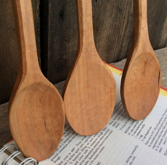 Hand Carved Wooden Spoon Cherry Cook Spoon