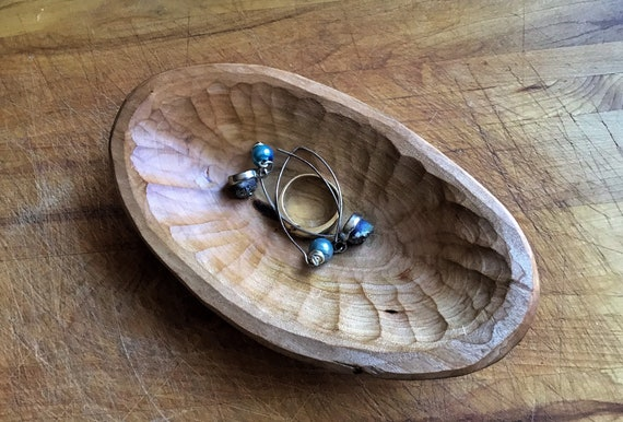 Hand Carved Wooden Bowl Cherry Wood Ring Bowl