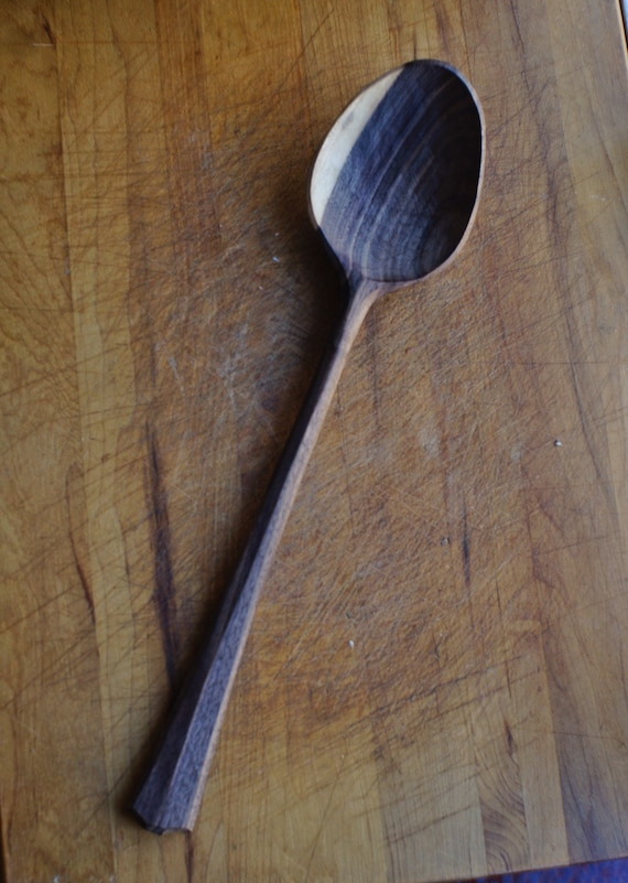 Hand Carved Wooden Walnut Serving Spoon Unique Gift