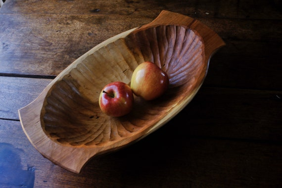Hand Carved Cherry Wooden Bowl Large Wooden Bowl Hand Tools Only
