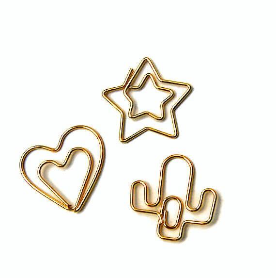 Glanzend Gold Kaktus Herz Stern Buroklammer Set Von 3 Gold Etsy