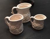 Three Vintage White Ironstone Measuring Cups