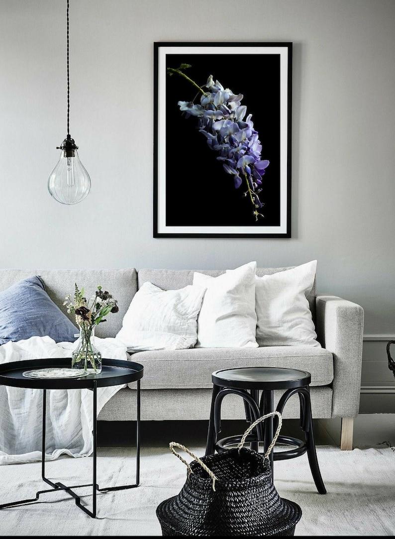 Wisteria Flower Photography Print ~ Purple /& Black Floral Artwork ~ Large Botanical Wall Art ~ Flowering Plant Picture ~ Vertical Fine Art