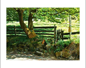 Greeting Card, greeting cards, greeting card pack, blank cards, stationery card, notecard, blank inside, A6, English country lane, Spring
