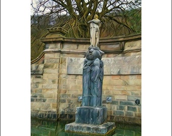 Greeting Card, greeting card pack, blank greeting card, blank card pack, any occasion card, notecards, stone statue, A6, English landscape